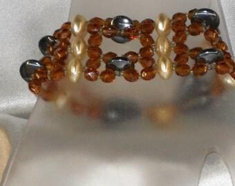 rococo Bracelet: hematite and Bohemian glass