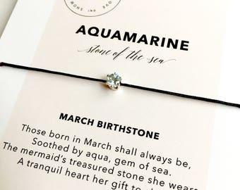 Aquamarine Bracelet/ March Birthstone Bracelet/ Layering Bracelet/ Birthday Birthstone Gift
