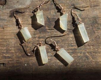 Chalcedony Earring • Gemstone Earring • Dainty Gemstone Jewelry • Wiccan Jewelry • Healing Gemstone • Rose Gold Earring • Drop Earring