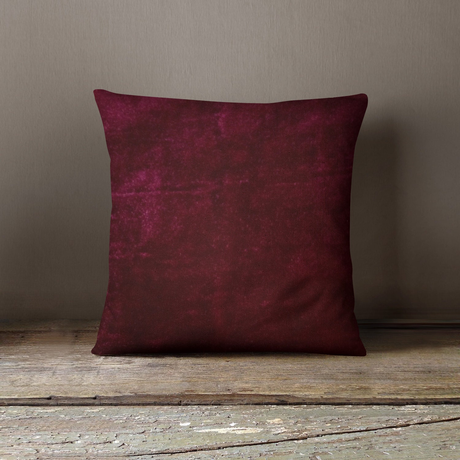 Burgundy Velvet Pillow Wedding Decor Plush Dorm Throw