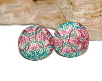 Fabric Post Earrings, Fabric Earrings 1970s, 1970s Jewelry, Vintage Jewelry, Floral Earrings, Floral Print, Button Earrings, Gift for Her
