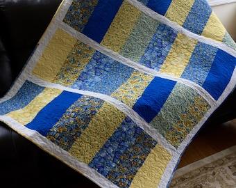 Modern Floral Quilt, Golden Yellow Vibrant Blues, Lap Quilt, Throw Quilt