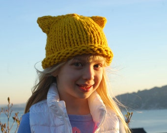 Wool Hat for kids. Winter Beanie. Merino wool organic hat with ears. Knitted .Pure hypoallergenic material. Cute gift for your baby. Chu