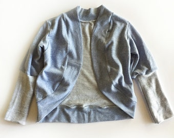 Blue Chambray Cardigan, Baby Cardigan, baby sweater, toddler cardigan, toddler sweater, baby cardi,  toddler cardi, French terry baby cardi
