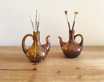 Small Brown Vases - Vintage Home Decor - Bohemian Home Decor