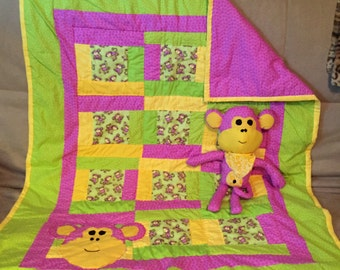Monkey Handmade baby Quilt with matching Monkey