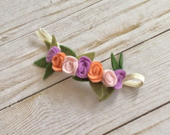 Handmade Felt Flower Headband Newborn / Baby / Infant