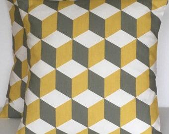 "2 x 18"" (45cm x 45cm) Prestigious textiles cube in saffron cushion covers"