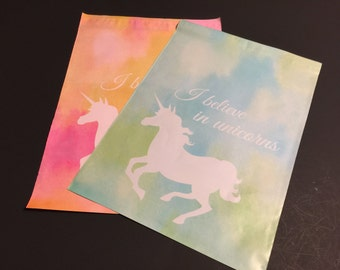 50 Designer 10x13 UNICORN Poly Mailers Blue And Green and Pink and Orange 25 each Watercolor  Envelopes Shipping Bags