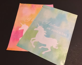 200 Designer 10x13 UNICORN Poly Mailers Blue And Green and Pink and Orange 100 each Watercolor  Envelopes Shipping Bags