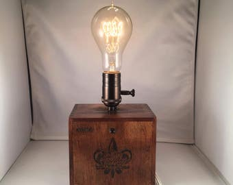 SALE! Repurposed Cigar Box Lamp with Dimmer Switch
