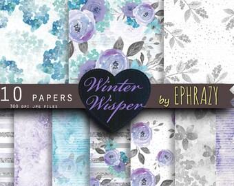 30% OFF AND MORE. Flower digital paper.  Floral digital paper. Flower paper. Winter digital paper. Watercolor paper. Digital paper.