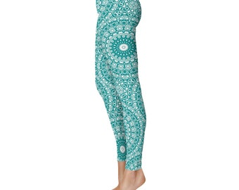 Teal Yoga Leggings - Teal Leggings, Teal and White Printed Leggings, Mandala Art Tights, Stretch Pants