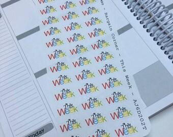 AJ6D202T, Bargain Corner This Week. Planner Stickers.