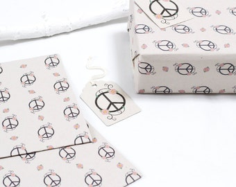 Peace and Daisies Gift Wrapping Paper D01