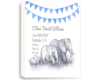 Gallery Wrapped Canvas Baby Boy Birth Stat, Watercolor Elephant Art, E1005C