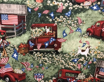 4th of July Americana country truck patriotic USA flag fabric, country living, summertime, 4th of July, patriotic, USA, America fabric