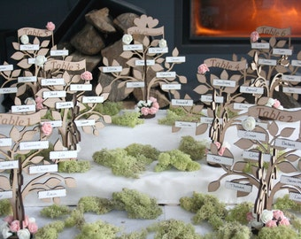 Seating plan romantic and fairy trees wedding theme wood rustic nature woodland place tag rustic kit seating plan to assemble