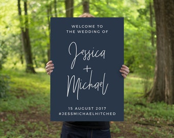 Wedding Welcome Sign | Printable Wedding Welcome Sign | Wedding Decor | Navy Mulberry Wedding | Digital Download | The Ellie Suite
