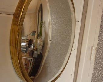 mirror french gold bronze round former witch eye
