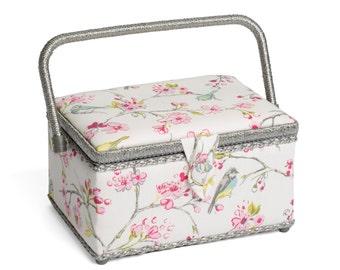 Hobbygift Premium Range Birdies Floral Sewing Basket Box