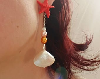 Starfish, pearls and Pearl shell earrings
