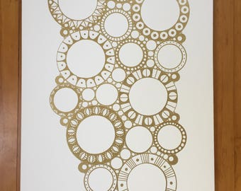 Guestbook painting - Gold on White (circles)