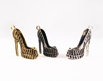 BP100 - Bronze gold silver multicolor pumps Stiletto Style Louboutin Choo charm / Gold Bronze Silver colour 4 High Heel Shoe Pendant