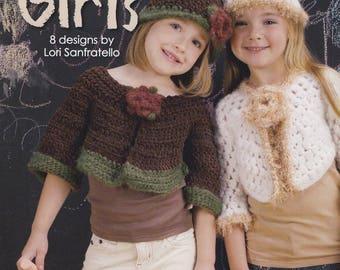 Trendy Crochet for Girls, Leisure Arts Crochet Pattern Booklet 4656 Bolero Cape Shrug Hats NEW