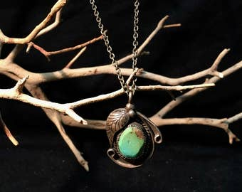 Vintage Navajo Sterling Silver/ Turquoise Necklace   #125