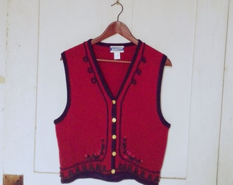 Pendleton Virgin Wool Red Vest Size Large/ Vintage Pendleton Sweater Vest/ Red Wool Sweater Vest