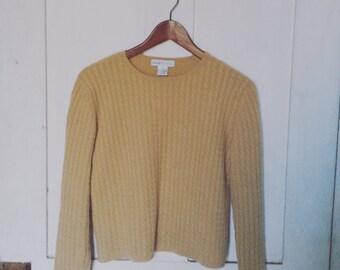 Mocha Cable Knit Cashmere Sweater/ Vintage Light Brown Cable Knit Cashmere Sweater/ Vintage Sand Cashmere/ Small Brown Cashmere Sweater
