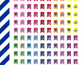 Bright Church Flag Minis, Premium Matte Vinyl,Planner Stickers,Removable, Repositionable, Reusable, For ECLP & Other Planners, Vinyl Sticker
