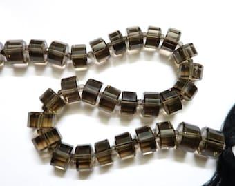 Smoky quartz faceted Wheels (step cut)