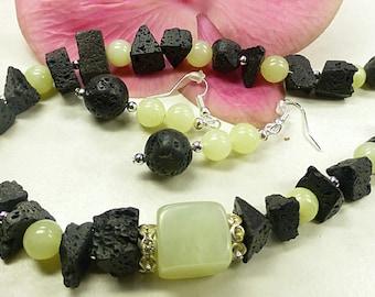 Black lava set with jade
