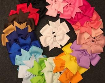Set of 20 Large Hair Bows, Boutique Ribbon Hair Bows, Big Hair Bows, 4.5 Inch Bows, Baby Bows, Toddler Girls Hair Bows, Hair Bow Set