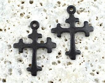 Cross Charm, 2, Black Cross, Artisan Cross, Casting, Antiqued Cross, Rosary, Patina Cross, Spanish Cross, Crucifix, Pewter, Aged, Dark