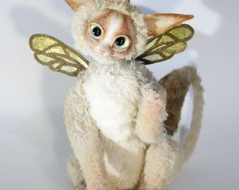 Magical Art Toy Mystic Forest Fairy Winged Cat Unique Gift Collectible Plush Stuffed Animal Magical Mythical Fantasy Animal