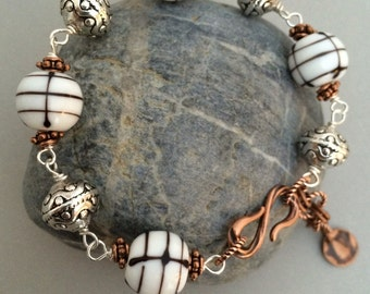 Lampwork Bracelet, Hand Wired Bracelet, Silver and Copper Bracelet, White and Black Bracelet