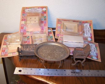Small grab bag lot of doll furniture: brass, handmade wooden in package, copper