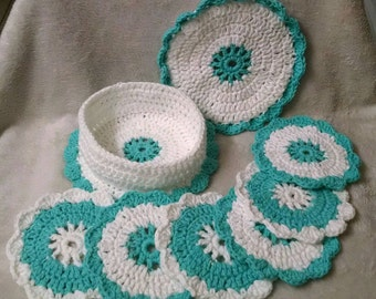 Beautiful hand crochet coasters*free 3 day shipping in U.S only*