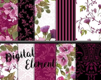 ON SALE Digital Fuchia Rose Shabby Chic, Digital Watercolor Floral Paper, Pink and Black Background Paper, Vintage Damask Digital Paper. No.
