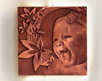 Custom wooden portrait, carved into solid beech wood, portrait from photo