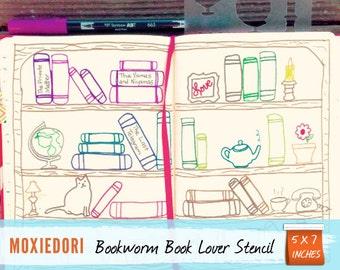 "Bookworm Book Lover Bookshelf Stencil - Bullet Point Journal Stencil, fits TN, Leuchtturm and Moleskine 4"" by 7"""