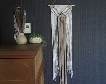 Long Macrame wall Hanging,Gift for Her Under 50, Boho macrame, Fringe, Modern Macrame, Boho Chic, Natural and Tan, Geometric