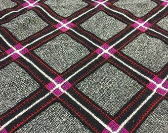 Black White and Pink Diamond Grid Pattern Fabric