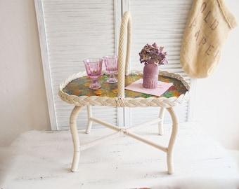 Retro tray table mid century basket of tray table