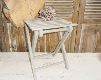 Stool folding stool Shabby Chic grey