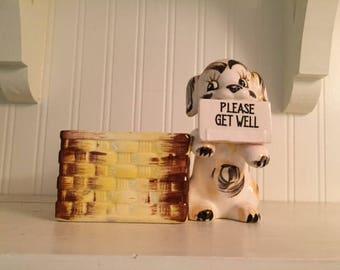 1956 Napco Puppy Planter Please Get Well