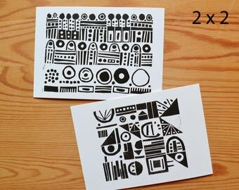 "Postcard set of 4 ""pattern"""